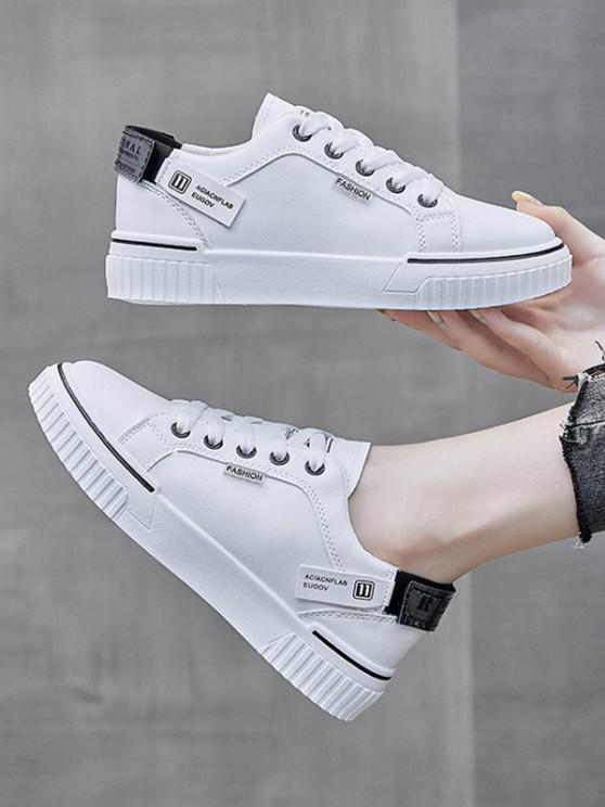 chic Casual Lace Up Flat Sneakers - BLACK EU 40