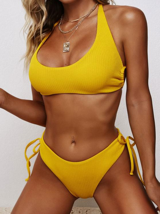 shop ZAFUL Ribbed High Cut Cinched Bikini Swimwear - YELLOW M
