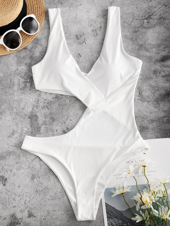 new ZAFUL Solid Ribbed Cut Out One-piece Swimsuit - WHITE M