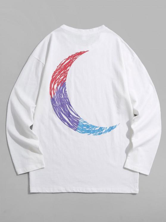 Colorful Sketch Crescent Print Long Sleeve T-shirt - أبيض M