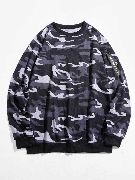 Camouflage Print Raglan Sleeve Sweatshirt - التمويه الثلج 3XL
