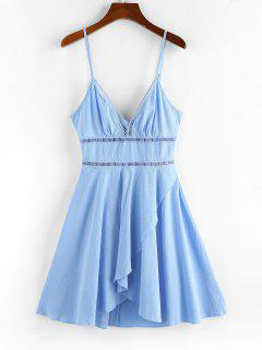 ZAFUL Crochet Panel Tulip Hem Cami Dress - Light Sky Blue S