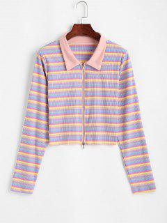Zip Up Colorful Stripes Ribbed Tee - Multi M