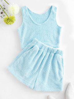 Plush Pocket Sleeveless Shorts Set - Light Blue Xl