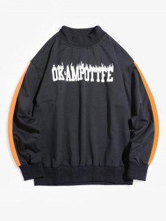 Colorblock Letter Graphic Drop Shoulder Sweatshirt - Black M