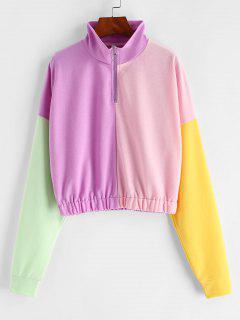 Sweat-shirt En Blocs De Couleurs à Demi-Zip - Multi L