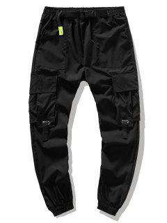 Buckle Waist Flap Pockets Leisure Cargo Pants - Black S