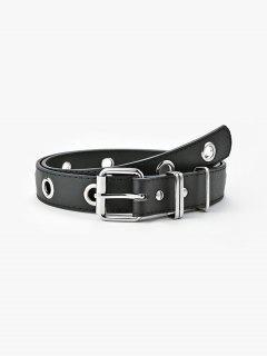 Punk Grommet Pin Buckle Belt - Black
