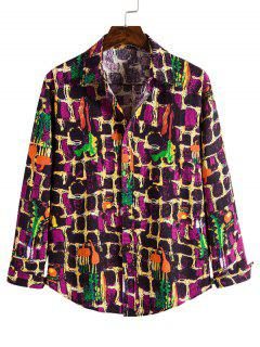 Wall Paint Pattern Casual Button Up Shirt - Multi 2xl