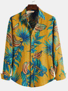 Leaf Banana Print Casual Long Sleeve Shirt - Yellow L