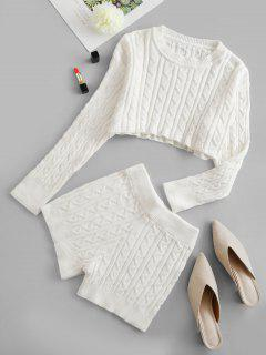 Cropped Solid Cable Knit Two Piece Set - White