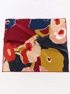 Abstract Floral Printed Satin Square Scarf - Multi-a