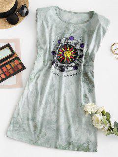 Padded Shoulder Sun Graphic Tie Dye Mini Dress - Light Green M