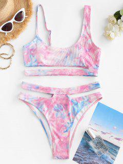ZAFUL High Waisted Tie Dye Ribbed Tankini Swimwear - Pink Xl