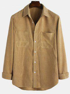 Long Sleeve Solid Pocket Patch Shirt - Light Coffee L