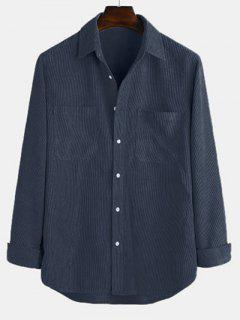 Long Sleeve Solid Pocket Patch Shirt - Deep Blue L