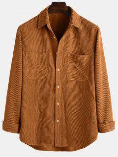 Long Sleeve Solid Pocket Patch Shirt - Coffee M