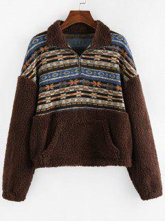 ZAFUL Ethnic Floral Print Zipper Teddy Sweatshirt - Multi-a S