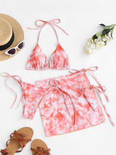 ZAFUL Halter Tie Dye Three Piece Bikini Swimsuit - Light Orange M