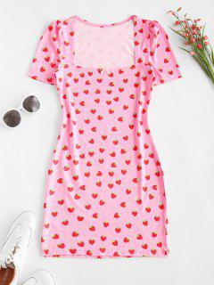 Vestido Ajustado Estampado Fresa Moño - Rosa Claro L