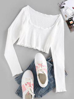ZAFUL Ribbed Lettuce Trim Crop T-shirt - White M