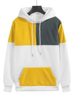 Fleece Color Blocking Panel Front Pocket Hoodie - White 2xl