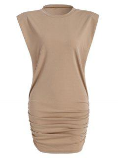 Gathered Side Padded Shoulder Bodycon Tank Dress - Light Coffee M