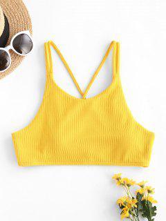 ZAFUL Rib-knit Crisscross Back Cropped Bikini Top - Yellow M