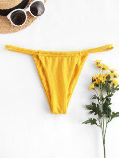 ZAFUL Rib-knit Dual Straps Tanga Bikini Swimwear - Yellow S