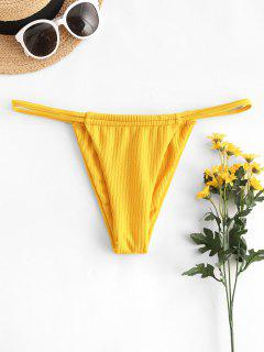 ZAFUL Rib-knit Dual Straps Tanga Bikini Swimwear - Yellow L