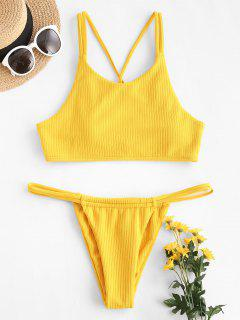 ZAFUL Rib-knit Dual Straps Tanga Tankini Swimwear - Yellow Xl