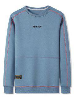 Sweat-shirt Long Cousu Contrasté à Col Rond - Bleu De Ciel  2xl