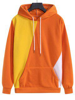 Color Blocking Fleece Kangaroo Pocket Hoodie - Papaya Orange M