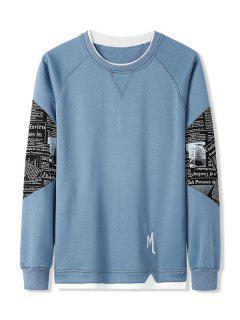 Letter Graphic Patchwork Panel Raglan Sleeve Sweatshirt - Jeans Blue Xl