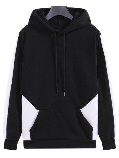 Fleece Colorblock Panel Hoodie - Black M