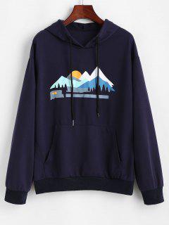 Sunset Peak Print Front Pocket Hoodie - Deep Blue S