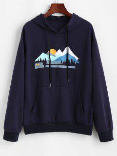 Sunset Peak Print Front Pocket Hoodie - Deep Blue M
