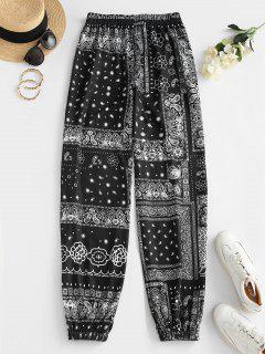 ZAFUL Tribal Flower Paisley Print High Waisted Pants - Black M