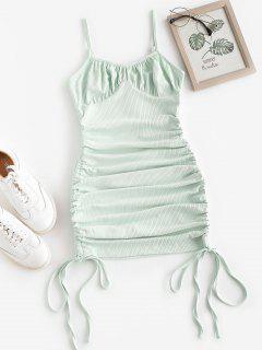 ZAFUL Rib-knit Side Cinched Ruched Bodycon Bustier Dress - Green M