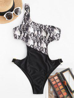 ZAFUL Snake Print Ring One Shoulder One-piece Swimsuit - Black M