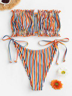 ZAFUL Maillot De Bain Bikini Bandeau Rayé Noué Arc-en-Ciel à Corde - Multi-b M