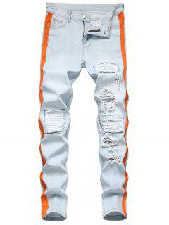 Contrast Tape Light Wash Ripped Jeans - Light Blue 32
