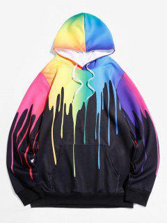 Colorful Paint Dripping Print Kangaroo Pocket Hoodie - Black M