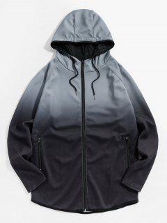 Raglan Sleeve Ombre Zip Up Hoodie Jacket - Gray Xl