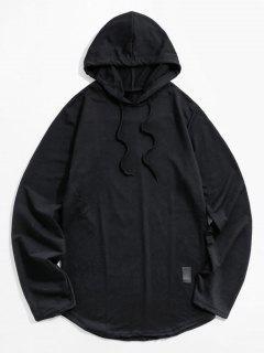 Faux Leather Applique Curved Hem Hoodie - Black 3xl