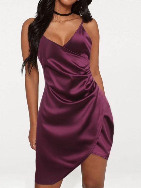fashion Cami Draped Crossover Slip Party Dress - PLUM VELVET XL Mobile
