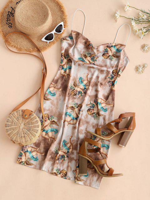 ladies Angel Print Renaissance Art Bodycon Tie Dye Slit Dress - COFFEE L Mobile