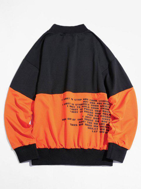 Sweatshirt Lettre Graphique en Blocs de Couleurs à Goutte Epaule - Orange Foncé L Mobile