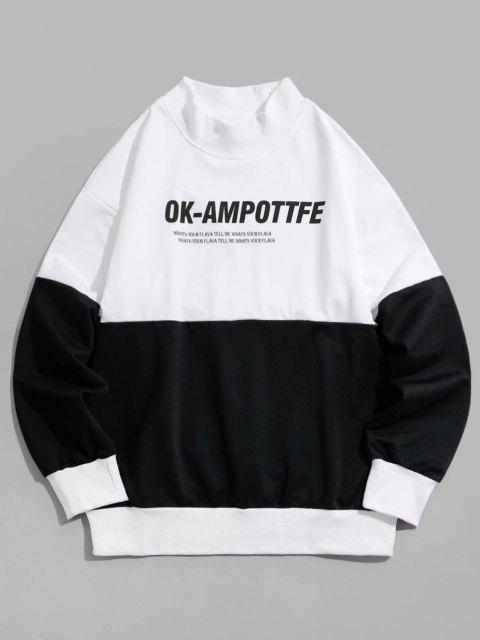Sweatshirt Lettre Graphique en Blocs de Couleurs à Goutte Epaule - Noir M Mobile