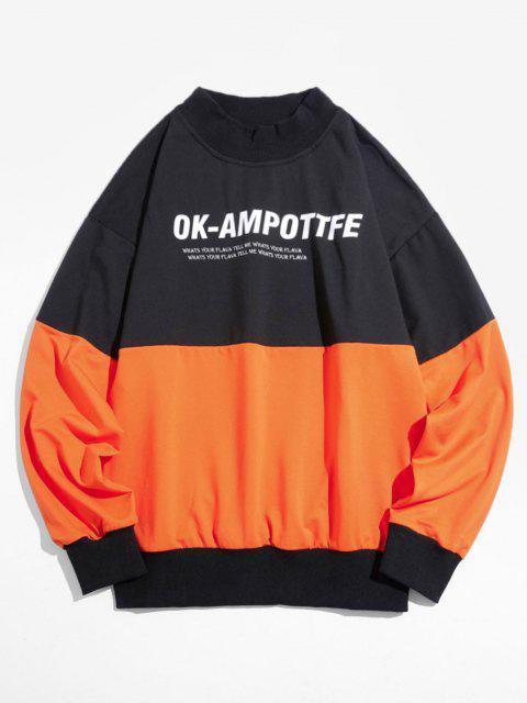 Sweatshirt Lettre Graphique en Blocs de Couleurs à Goutte Epaule - Orange Foncé 3XL Mobile